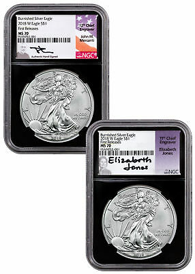2-Coin Set 2018-W Burnished Silver Eagle NGC MS70 FR Blk Mercanti Jones SKU54383