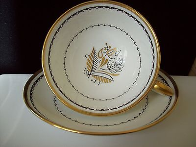"""Crown Staffordshire Bone China Teacup & Saucer """"Blackstone""""  Made in England"""
