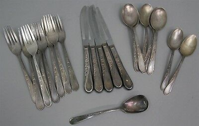 21 Pieces WM ROGERS & SONS IS SPRING FLOWER Pattern Silverplate FLATWARE