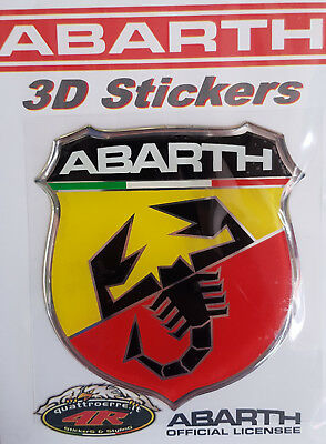 ADESIVO RESINATO STICKER 3D LOGO BADGE FREGIO ABARTH ORIGINALE 80x74mm