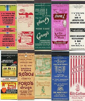 50 New Jersey Front Strike Matchcovers - Cities & Towns