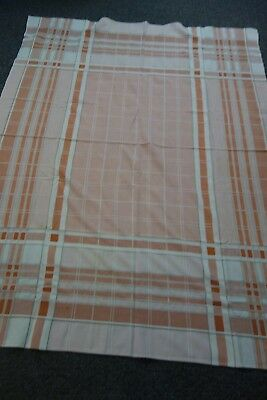 "1940's Plaid Tablecloth- 48""x64""- Cream & Clay-FARMHOUSE KITCHEN- SALE"