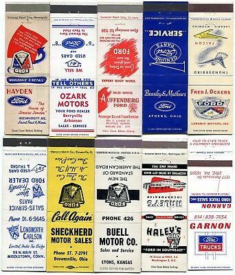 50 Ford Automobile Dealer Matchcovers - Ford