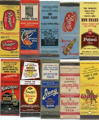 50 Beer Front Strike Matchcovers - Many Different Beer Brands