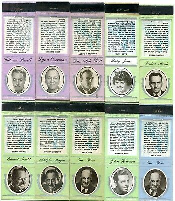 50 - 1930's Movie Star Matchcovers - Hepburn, Cooper, Crawford, Autry +