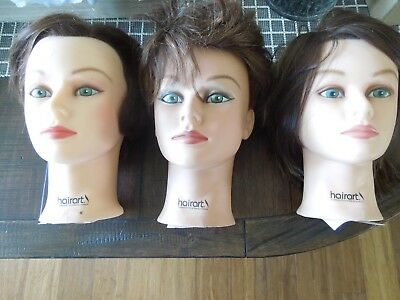 Lot of 3 Helen Hairart Cosmetology Mannequin Doll Heads, #4314