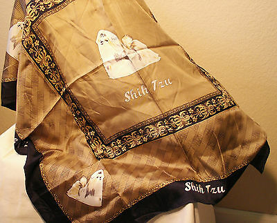 Shih Tzu Dog Silk Scarf Large 100% Silk New