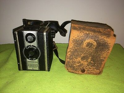 Coronet D-20 Vintage Box Camera with Leather case