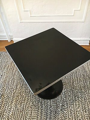 Art Deco Machine Age Streamline Moderne Chrome Black Pedestal 4 Top Dining Table