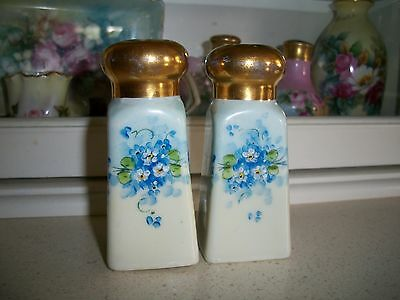Antique Vintage Porcelain Shakers w/ HP'd Forget-Me-Not Flowers & Burnished Gold