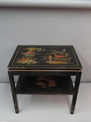 Vintage Katherine Henick Signed Black Lacquer Chinoiserie Painted Side Table