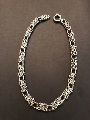 "Stunning Large STERLING SILVER BYZANTINE OVAL Unique 17"" NECKLACE Italy 10.5mm"