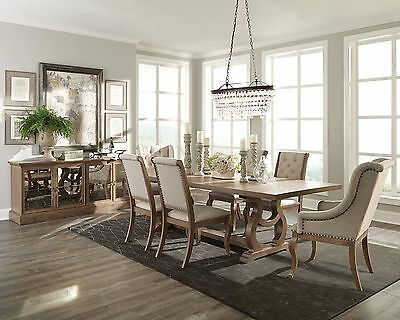 Formal Rustic Weathered  7 Pc Dining Table Cream Tufted Chairs Furniture Set