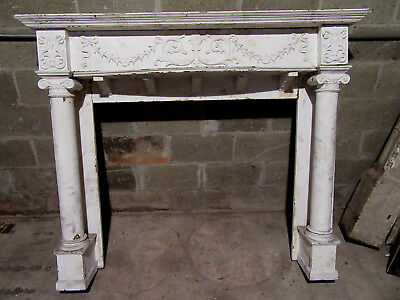 ~  ANTIQUE CARVED 1/4 SAWN OAK FIREPLACE MANTEL 60 x 50 ~  ARCHITECTURAL SALVAGE