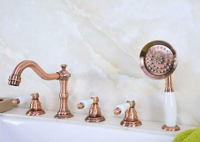 Antique Red Copper 5pcs Roman Bath Tub Sink Faucet with Hand Shower Spray Ptf227