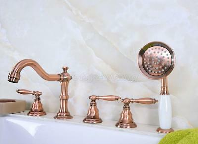 Antique Red Copper 5pcs Roman Bath Tub Sink Faucet with Hand Shower Spray Ptf228