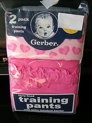 GERBERS  TERRY LINED   GIRLS 2 pr..PKG.TERRY LINED TRAINING PANTS SIZE 2T-3T NWT