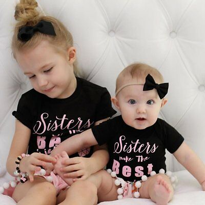 Kids Baby Girls Sister Matching Clothes Outfit Set T shirt Dress Romper +Shorts