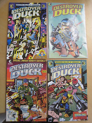 DESTROYER DUCK : issues 1, 3, 4, 7 of the 1982 ECLIPSE series by JACK KIRBY