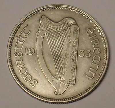 IRELAND, 1933 Half Crown, nice mid grade, VF.