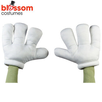 AC132 Jumbo White Cartoon Hands Gloves Adult Mickey Minnie Mouse Cat in the Hat