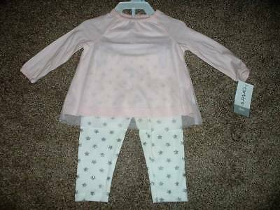 Carter's Baby Girls Pink White Star Outfit Set Size 6 Months 6M NWT NEW 3-6 mos