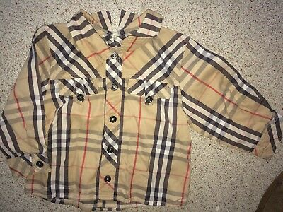 Burberry Baby Boy 9 Months Brown Checked Long Sleeved Shirt (Ex Cond)