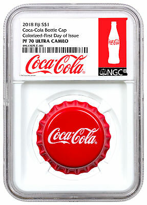 2018 Fiji Coca-Cola Bottle Cap-Shaped 6g Silver $1 NGC PF70 UC FDI Excl SKU54448