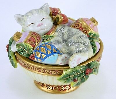 Fitz and Floyd Christmas Covered Candy Dish, Kristmas Kitty Sleeping Cat Trinket
