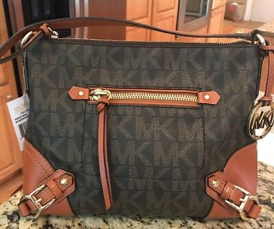 c3a75ff79f4b3 MICHAEL KORS Fallon MK Logo Signature Brown Messenger Crossbody Bag Purse  NWT