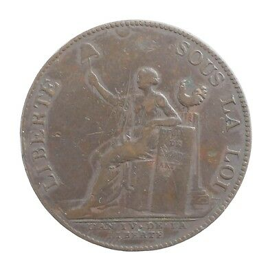 1792 French Revolution Monneron 2 Sols Medal Token Coin