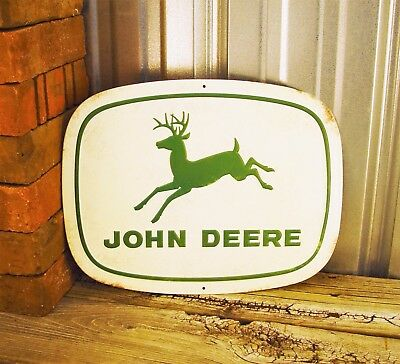 "John Deere Nothing Runs Like 14"" Metal Tin Sign Vintage Style Farm Tractor Barn"