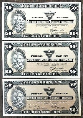 Lot of 3x 1985 Canadian Tire 50 Cents Notes ***Crisp Uncirculated*** CTC-S8-E