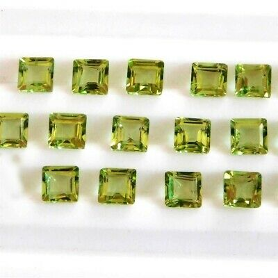 Wholesale Lot of 4x4mm Square Cut Natural Peridot Loose Calibrated Gemstone