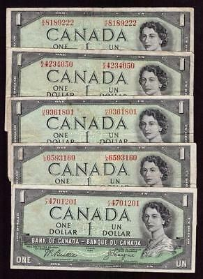 5x 1954 Bank of Canada $1 bank notes all devils face VG to F+