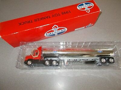 """Amoco American Oil 1998 collectors toy 13.5"""" diecast tanker semi truck pre owned"""