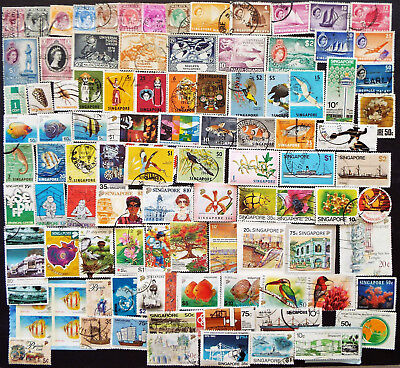 Collection Of Stamps From Singapore