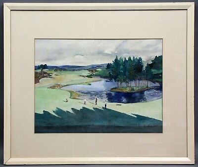Framed Original WATER COLOR by JIM BARGER Golf Course LANDSCAPES UNLIMITED Prez