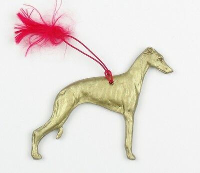 WHIPPET Dog CHRISTMAS ORNAMENT Gold Painted Silhouette