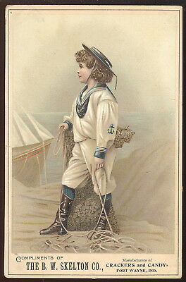 Large 1880-90S Trade Card, B W Skelton Co. Crackers & Candy, Fort Wayne, In.