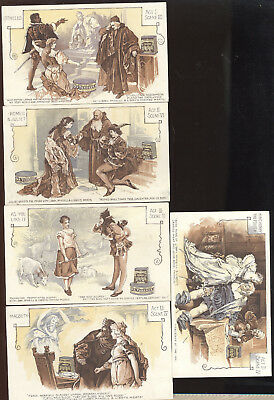 Set Of 5 1880S Tc, Shakespeare Plays Theme, Libby, Mcneill & Libby Canned Meats