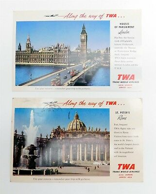 Lot of 2 Vintage 1950s TWA Trans World Air Airlines POSTCARDS London & Rome Used