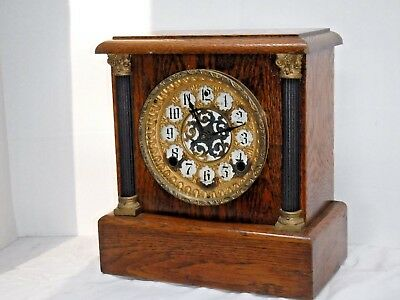 Antique Sessions E.n.welch Mantel Chime Clock 8Day Wood Forestville Conn Working
