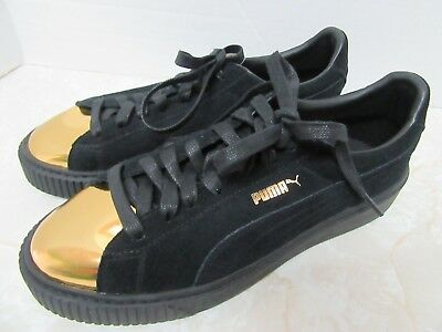 a448f8fadb07 PUMA WOMEN S BLACK Suede Platform Metallic Gold Accent Fashion Sneaker Sz  9.5 -  89.99
