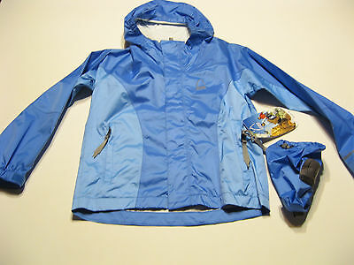 Sierra Designs Girls Hurricane HP Outdoor Raincoat Jacket S Light Blue Hooded