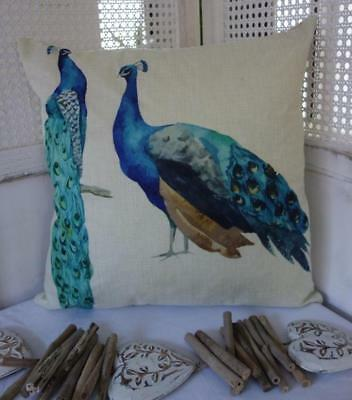 Pair of Turquoise Blue Peacocks Linen Look Cushion Cover 45cmn