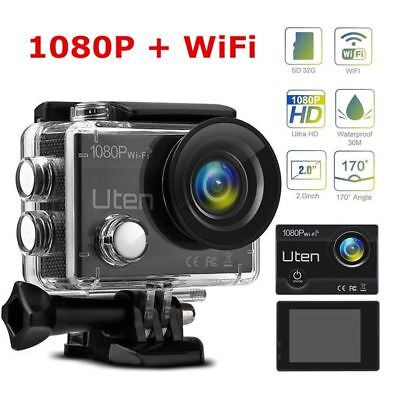 1080P Sport Action Caméra WiFi Full HD 12MP 170° Large Angle sous-marine à 30m