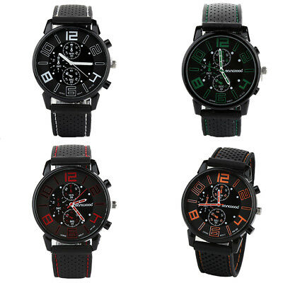 Men's Casual Quartz Analog Silicone Band Stainless Steel Round Sports Watch Li