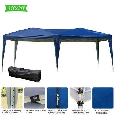 10' x 20' Blue Easy Pop Up Gazebo Canopy Wedding Party Tent Outdoor Awnings