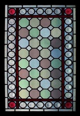 Rare Amazing English Victorian Rondels Beauty Antique Stained Glass Window